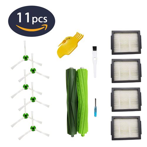 Kit de 11 Accessoires pour Aspirateur iRobot Roomba i7 i7Plus E5 E6 E7 (4 filtres, 6 brosses latérales, 1 jeu de brosses en caoutchouc) Hobby Tech