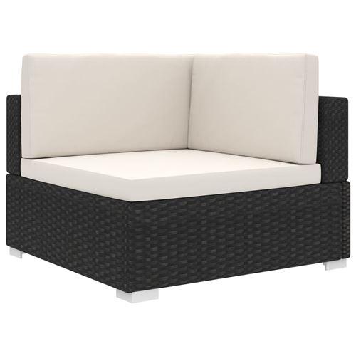 vidaXL Chaise d'angle sectionnelle avec coussins Résine tressée Noir