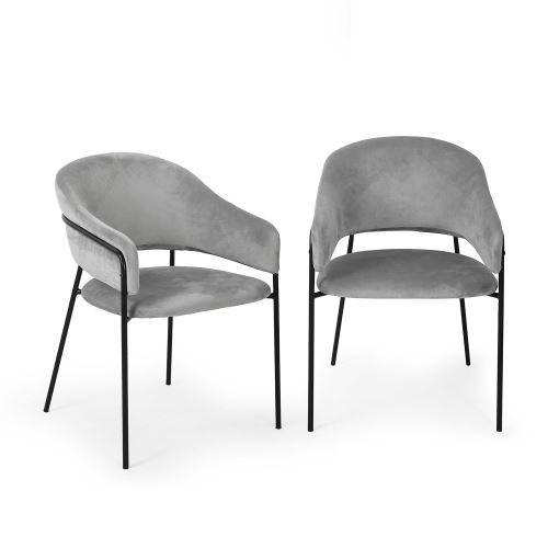 Besoa Salma Lot de 2 chaises de salle à manger - Assise rembourrée - Métal chromé doré - Gris