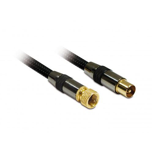 Câble d'antenne blindé METRONIC 419005 Mâle/Mâle - connexion Fiche F/TV 9,52 mm - 1,5m - Noir