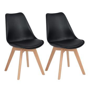 en 2 Lot bois Chaises hetre Chaises pieds massif Noir Tulipe contemporain de de nordique scandinave design gfY7y6b