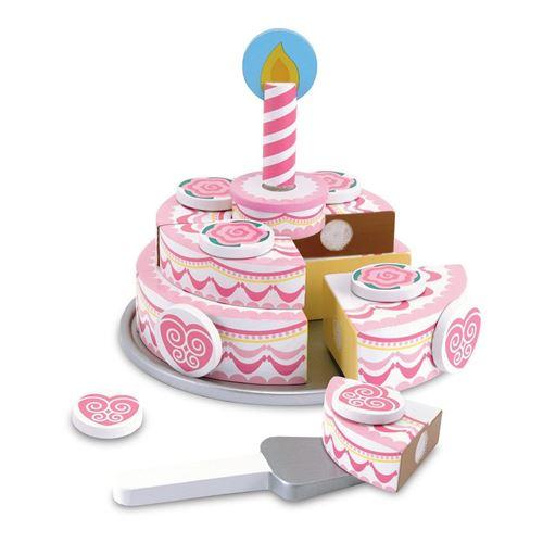 Melissa & Doug gâteau d'anniversaire en bois 20 pièces rose