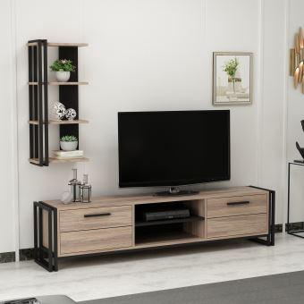 347 10 Sur Homemania Meuble Tv Lesa Moderne Avec Bibliotheque Avec Portes Etageres Pour Salon Noir En Bois Metal 192 X 35 X 45 Cm Achat Prix Fnac