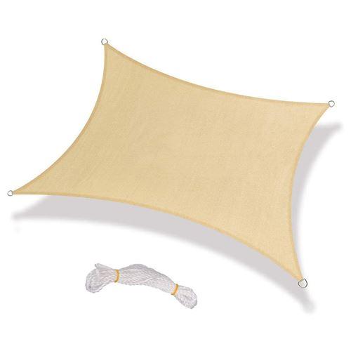 Toile d'ombrage OOBEST® Carré 3.6*3.6m pour Jardin balcon terrasse- Beige