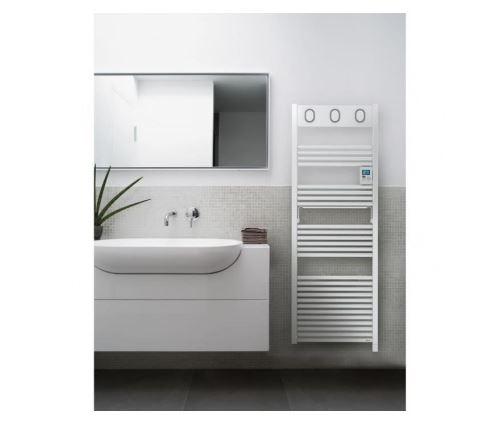 Sauter marapi radiateur seche-serviettes electrique - 750 watts - ecran retro-eclaire - programmation hebdomadaire -tubes ronds