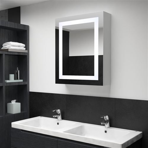 Armoire de salle de bain à miroir LED 50x13x70 cm Blanc et Argent