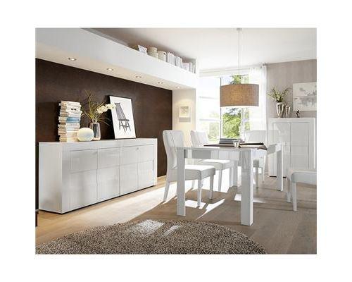 Salle à manger complète blanc laqué brillant OKLAND - Avec rallonge - Blanc - L 92 x P 42 x H 125 cm