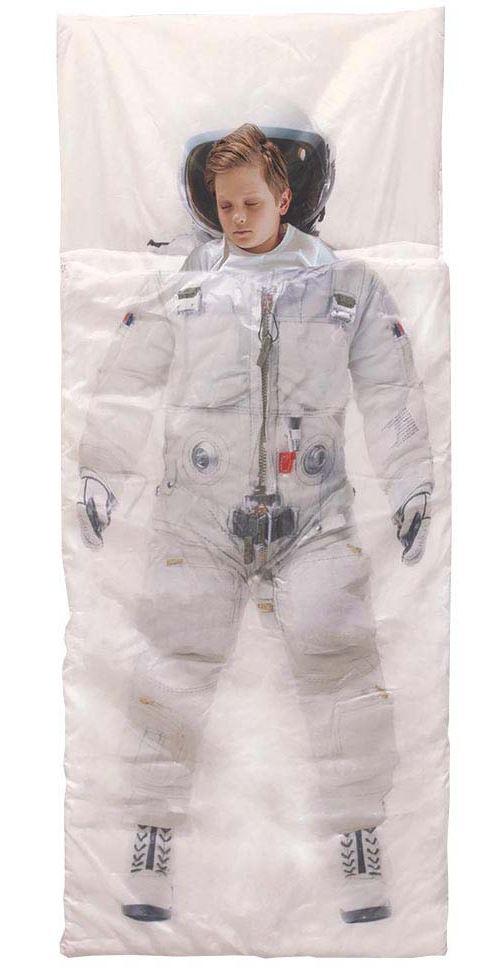The Home Deco Kids - Sac de couchage enfant 170 x 70 cm Astronaute - Blanc