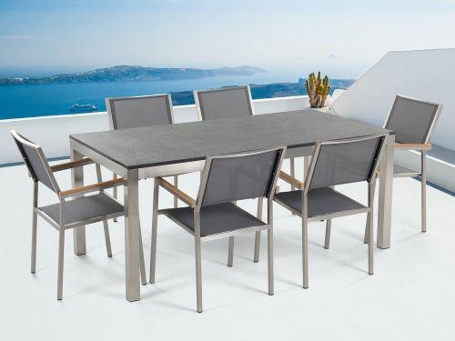 en Grosseto acier granit gris Beliani chaises de simple en cm noir textile flambé180 plateau 6 inox Table jardin vbyYfIgm76