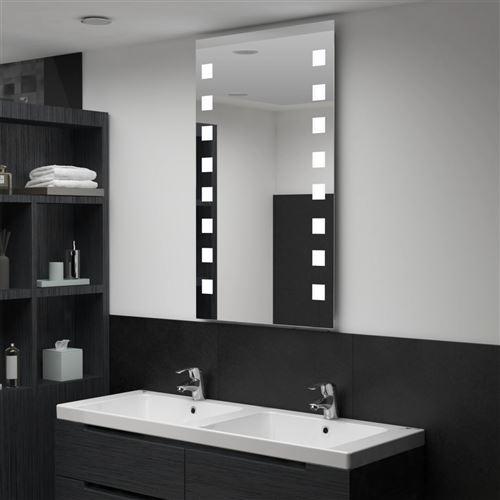 Miroir mural à LED pour salle de bains 60 x 100 cm (144701)