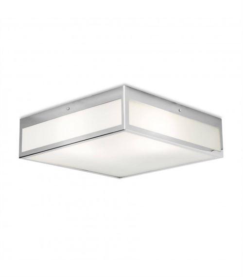 Plafonnier Flow, chrome et verre, carré 40 cm