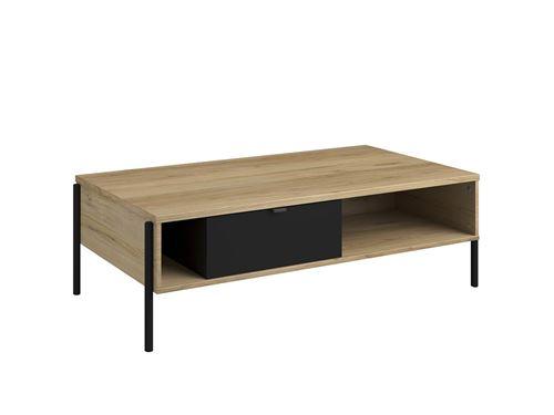 Table basse industrielle MEMPHIS - 1 tiroir et 2 niches - Coloris : chêne et noir