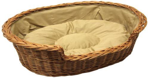 Prestige Panier en osier avec coussin pour chien, beige, 85 x 67 cm