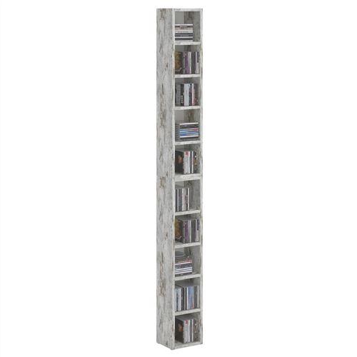 Etagères modulables MUSIQUE pour CD et DVD, lot de 2 meubles de rangement en colonne avec 10 compartiments, en mélaminé shabby chic