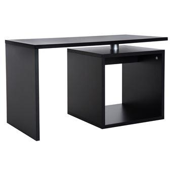 Table Basse Contemporaine Design Geometrique Carre Rectangulaire 77l X 40l X 44h Cm Noir Mat