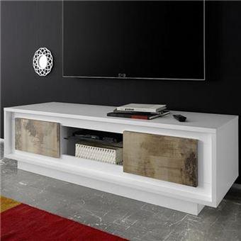Nouvomeuble Meuble Tv Moderne Blanc Laque Mat Et Couleur Bois