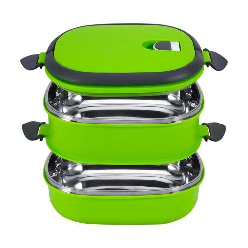 Boîte à lunch thermique stockage de nourriture 2 couches - - Vert