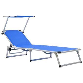 vidaXL Chaise longue pliable avec toit Aluminium et textilène Bleu