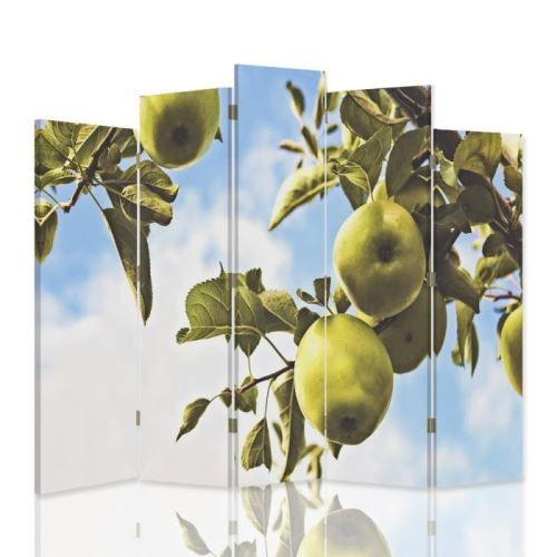 Feeby Paravent d'intérieur 5 panneaux irréguliers deux faces Diviseur de pièce déco, Pommes vertes Branche 180x180 cm