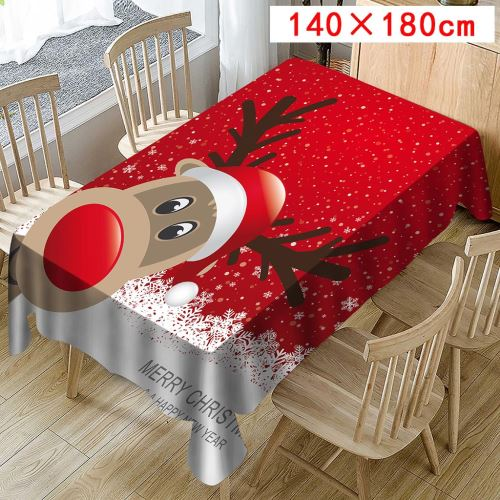 Nappe de Noël Imprimer Rectangle Table Cover Holiday Party Home Decor_Kiliaadk427