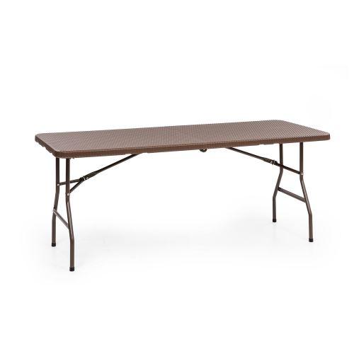 Blumfeldt Burgos Family Table de jardin pliable 6 personnes - 181 x 74 x 76 cm - polyrotin & acier marron