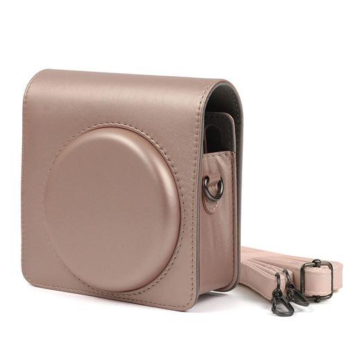 Étui de protection en cuir PU pour Fujifilm Instax Square SQ6 - Rose