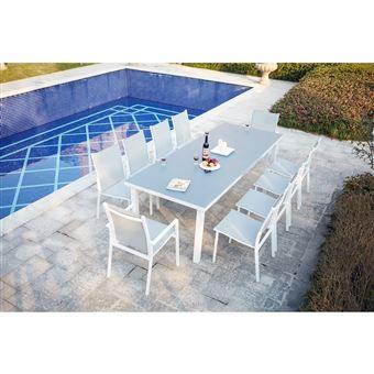 Moniga 10 : table de jardin extensible 10 personnes avec 2 fauteuils et 8  chaises en aluminium