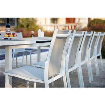 Moniga 10 : table de jardin extensible 10 personnes avec 2 fauteuils ...