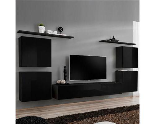 Meuble tv mural noir DONATELLO 4-L 320 x P 40 x H 150 cm- Noir