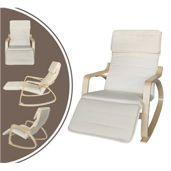Rocking Chair Chaise A Bascule Beige Avec Repose Pied Coussin