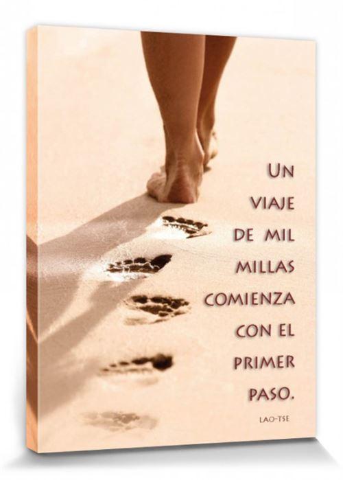 Motivation Poster Reproduction Sur Toile, Tendue Sur Châssis - Un Viaje De Mil Millas Comienza Con El Primer Paso (40x30 cm)