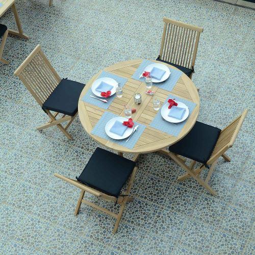Salon de jardin en teck Ecograde Managua, table pliante ...