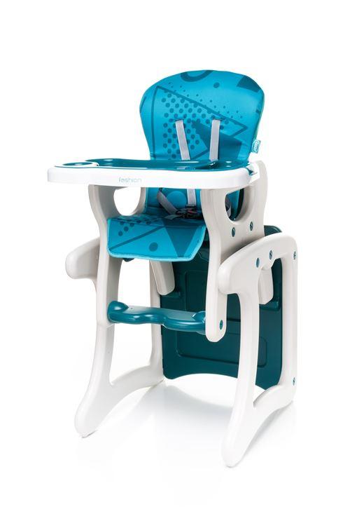 Confortable chaise haute / table enfant FASHI 2en1 - max 15kg - turquoise