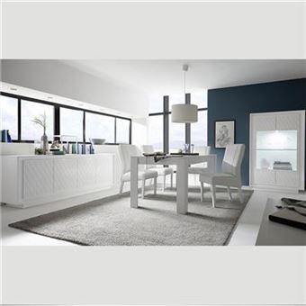 Nouvomeuble - Salle à manger blanc laqué design et motifs erine 3