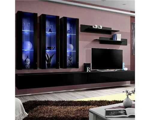 Ensemble meuble TV noir design PIAZZA - L 320 x P 40 x H 190 cm