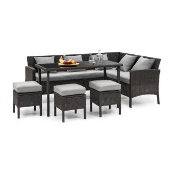 Blumfeldt Titania Lounge Salon de jardin complet polyrotin noir & gris clair