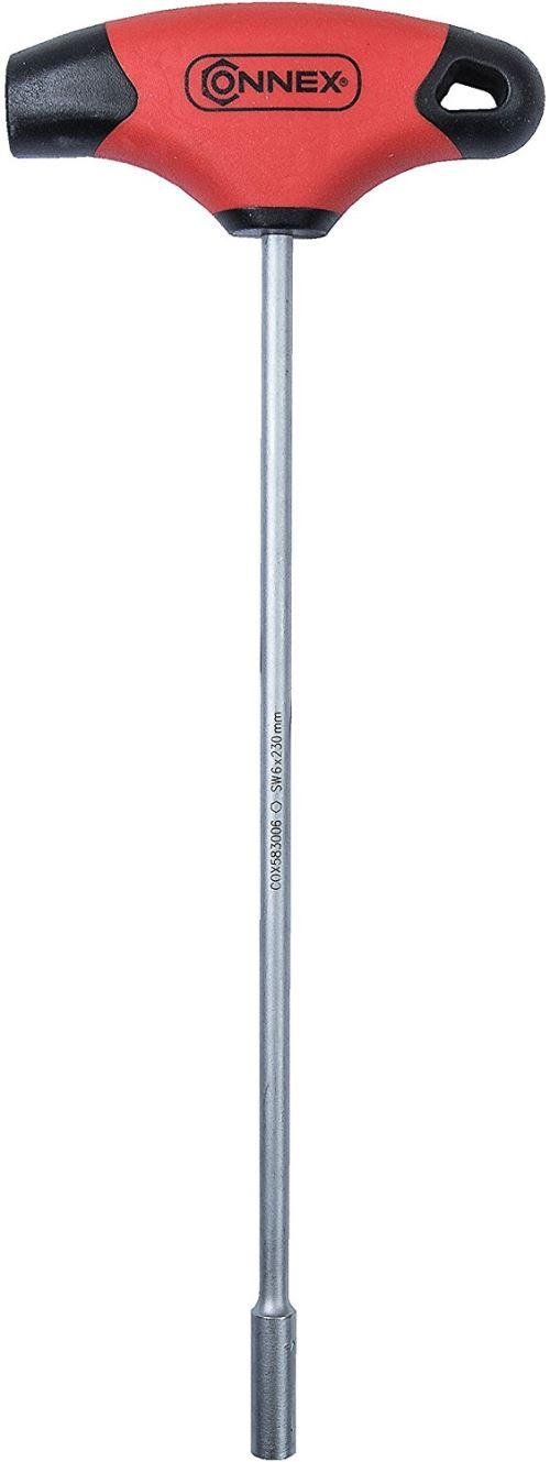 Connex COX583006 Clé à douille avec manche en T, Argent/noir/rouge, 6 x 230 mm
