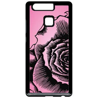 Coque Huawei P9 Fleur Fond Fond Rose Pale