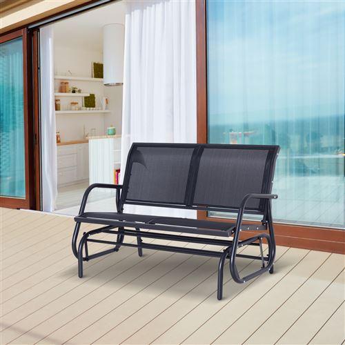 Banc à bascule de jardin design contemporain grand confort accoudoirs  assise et dossier ergonomique acier textilène noir 123L x 80l x 88H cm