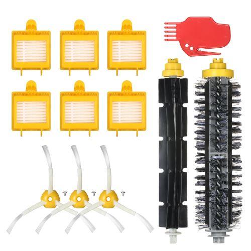 Pack de 12 accessoires de rechange pour iRobot Roomba 700 Series 700 760 770 780 790 Aspirateur - Brosse à poils + brosse flexible + brosses latérales + filtre HEPA + outil de nettoyage