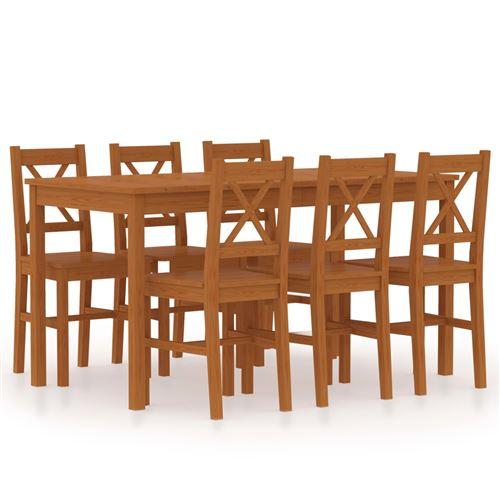 vidaXL Ensemble de salle à manger 7 pcs Pinède Marron miel