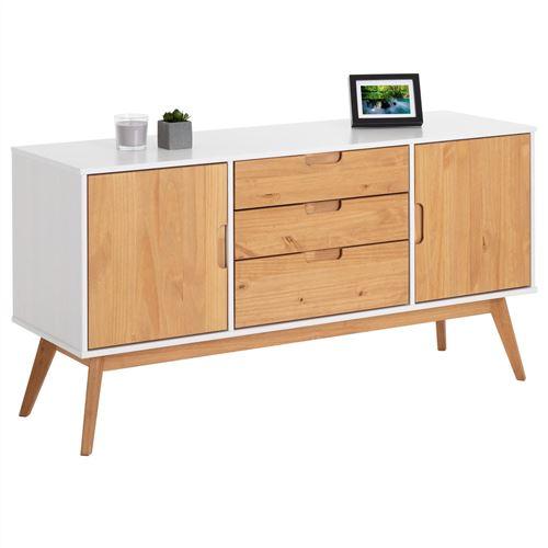 Buffet TIVOLI design vintage scandinave nordique commode bahut vaisselier 3 tiroirs 2 portes, pin massif finition blanc/bois teinté