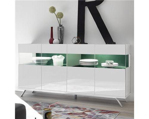 Enfilade 4 portes LED design blanc et vert CASTELLI - L 184 x P 50 x H 101 cm