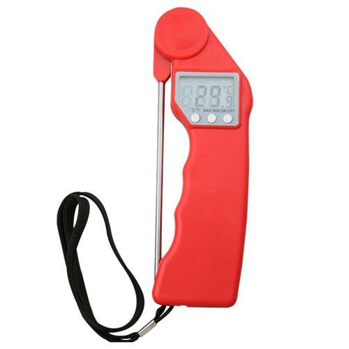 Thermomètre de cuisine alimentaire électronique pliable à affichage numérique de haute précision -rouge