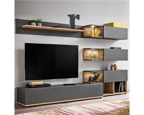 Ensemble meuble TV gris et couleur bois RUFFANO - L 240 x P 40 x H 180 cm