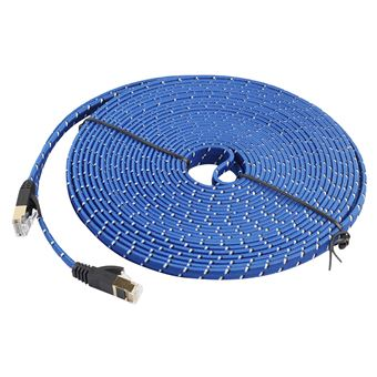 Allshopstock 15m Gold Plated Cat-7 10 Gigabit Ethernet Ultra Flat Patch Cable for Modem Router Lan Network Built with Shielded RJ45 Connector #24
