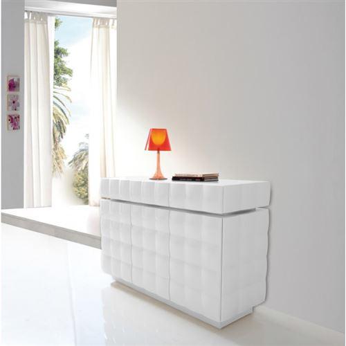 Buffet 3 tiroirs et 3 portes en bois laqué blanc brillant effet 3D JOLLA