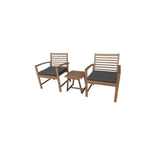 Finlandek - Salon De Jardin Table + 2 Fauteuils En Acacia - Gris - Loma