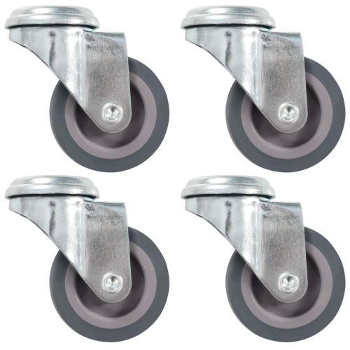 4 pcs Roulettes pivotantes à trou de boulon 50 mm