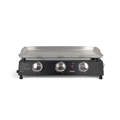 Plancha gaz en acier inoxydable Livoo DOC249 7500 W Noir et gris